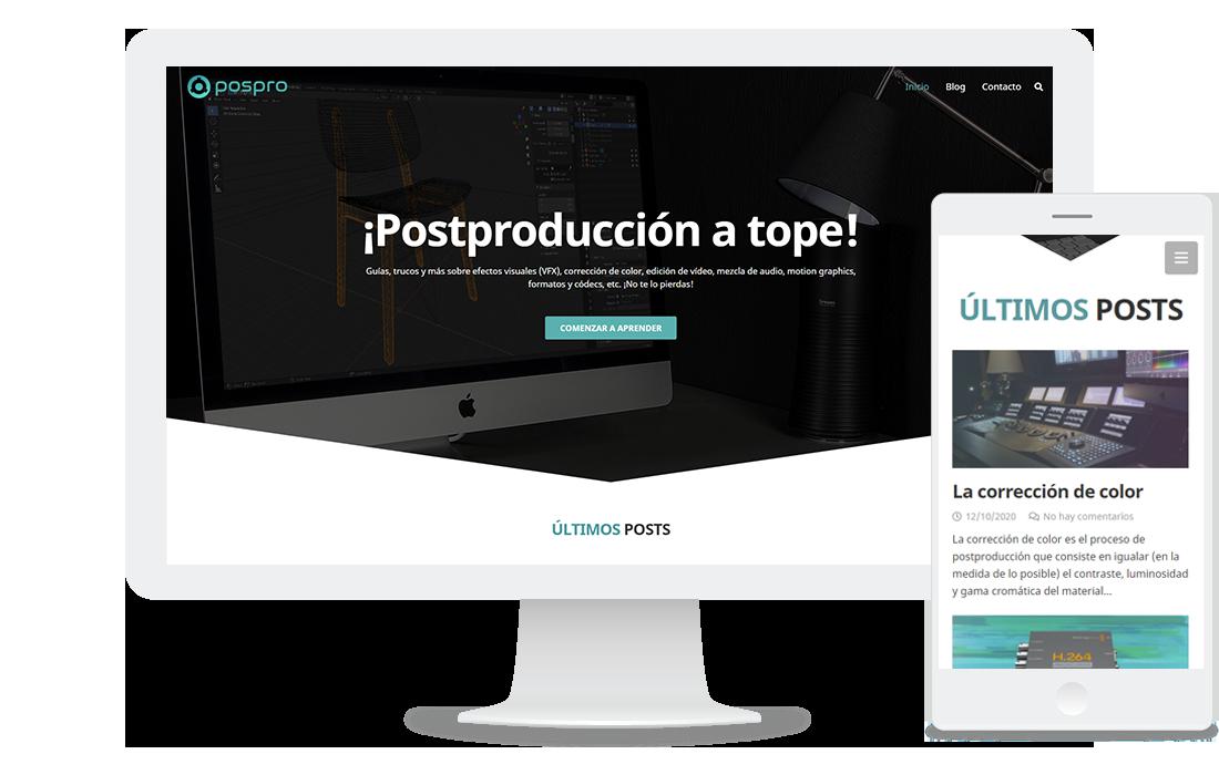 Página web de postproduccion.net: blog especializado en la postproducción de vídeo y audio
