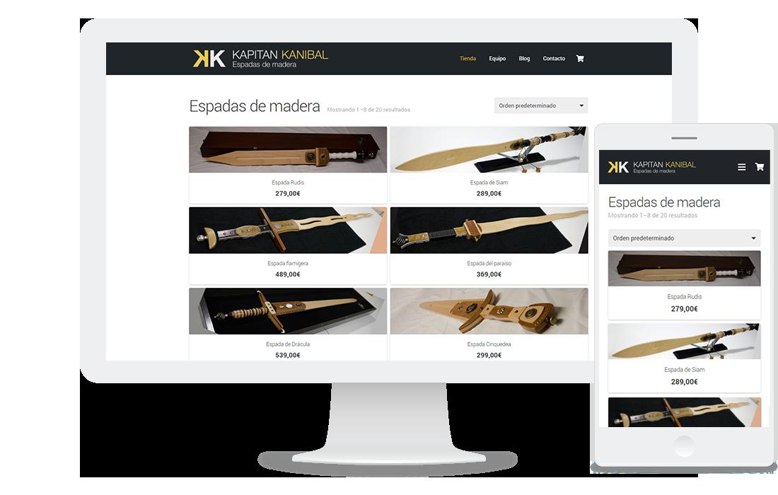 Tienda online de Kapitán Kaníbal (venta de espadas de madera)
